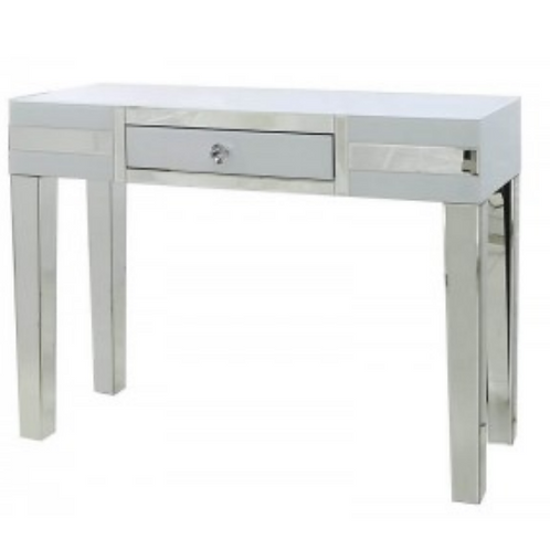 White Manhattan Mirror 1 Drawer Console Table