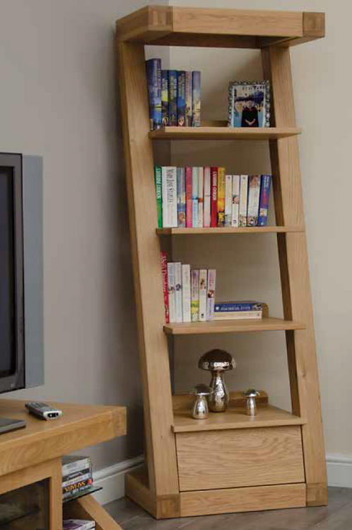 Narrow Bookcase with Drawer