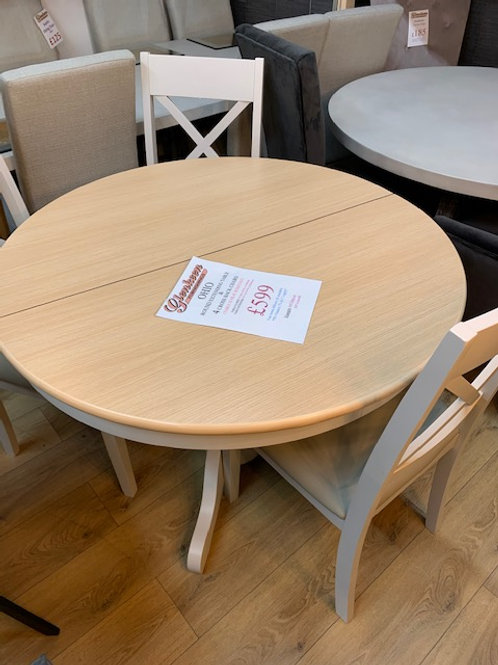 Ohio 1.2m Round Extending Table plus 4 Cross Back chairs