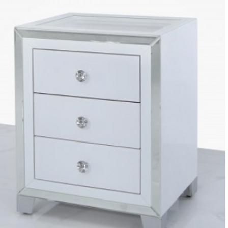Manhattan White 3 Drawer Locker with Glass Top