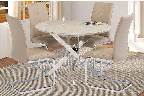 Capri Round table plus 4 Moreno Cream Dining Chairs