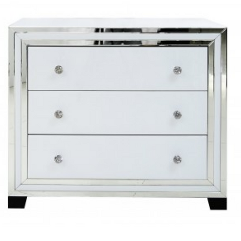 White Manhattan Mirror 3 Drawer Chest
