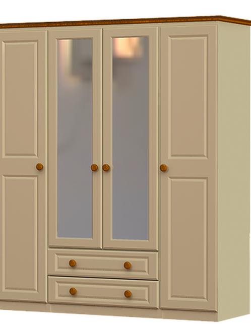 Annagh Ivory 4 Door 2 Drawer 2 Mirror Robe