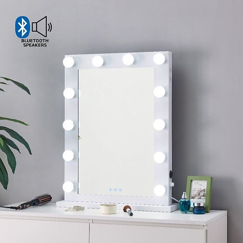 White Hollywood Mirror with Bluetooth