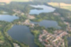 Lychen Luftbild Ferienwohnungen am See