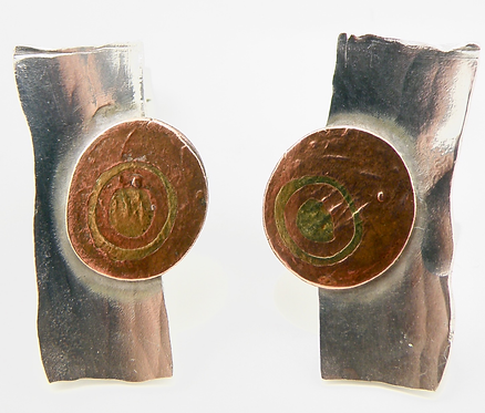 Bulls Eye Mokume-Gane Earrings