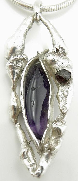 Organic Amethyst Garnet Pendant