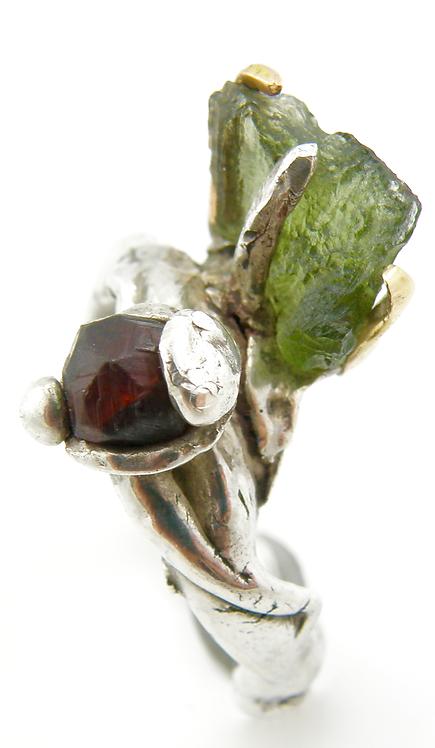 Moldervite Garnet Ring