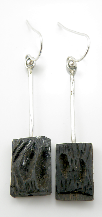 Silver & Ebony Wood Earrings