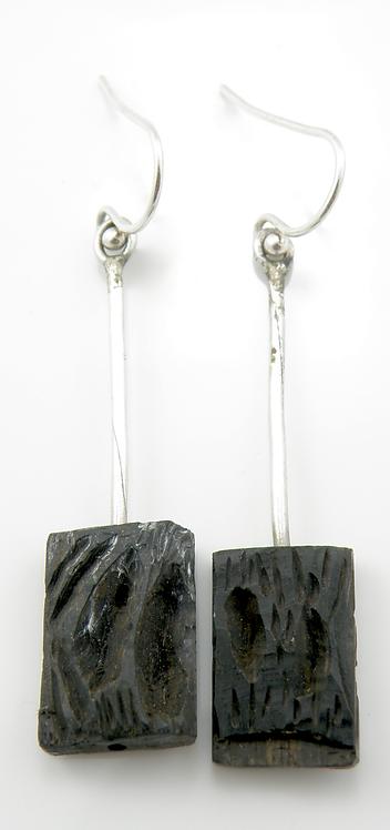 Silver & Ebony Wood Earrings