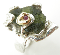 Ruby and Moldavite Ring
