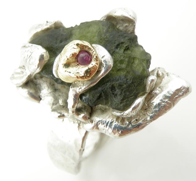 Ruby and Moldavite Ring