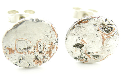 Circular Mokume-Gane Earrings