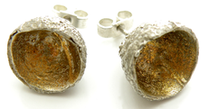Sterling Silver Acorn keum boo ear stud Earrings.