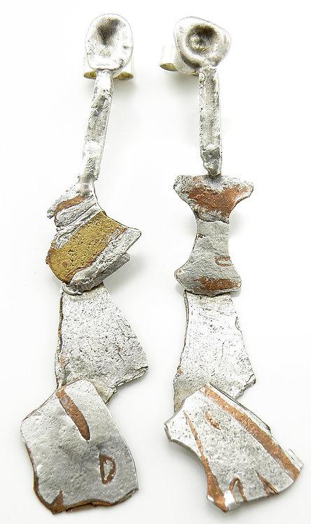 Mokume-Gane Articulated Earrings
