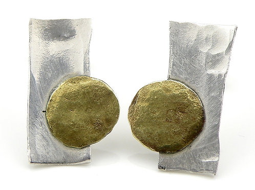 Hammed Forged Rectangular Circle Earrings