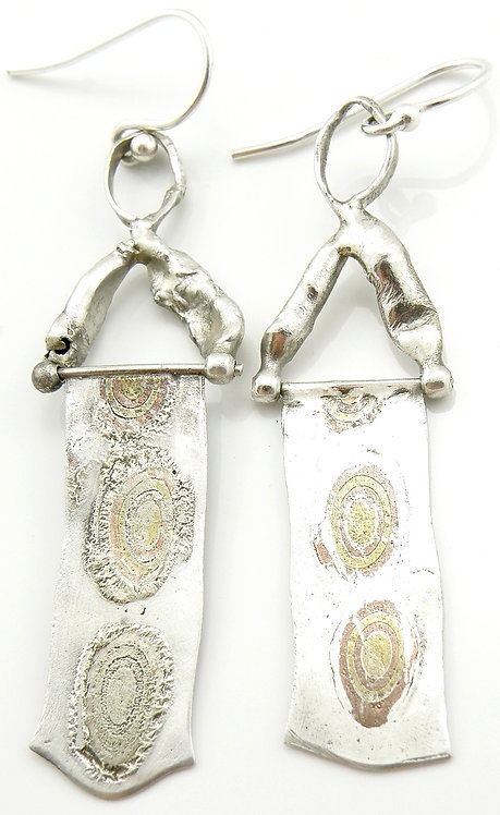 RectangularBullseye Mokume-Gane Earrings