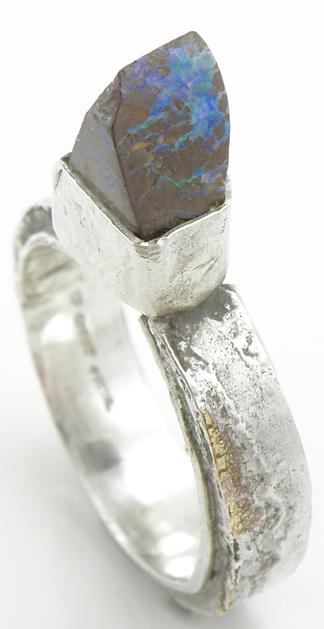 Mokume-gane Opal Ring