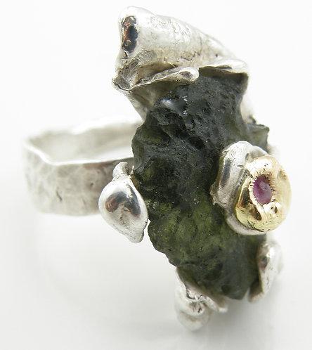 Moldervite Ruby Ring
