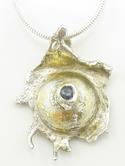 Silver Gold Sapphire Pendant
