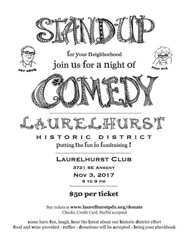 November 3 Laurelhurst Standup Comedy Fundraiser!