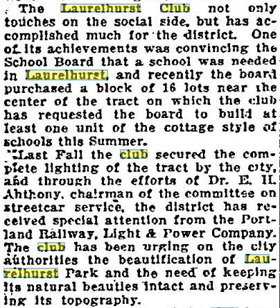 Birth and History of the Laurelhurst Club: 1912 to 2020.