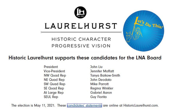 LNA Candidate Slate Supported By Historic Laurelhurst