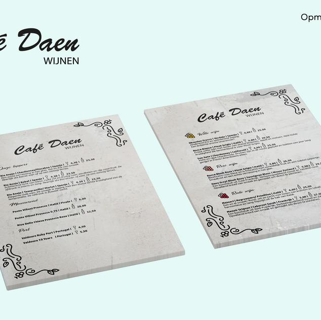 Cafe Daen wijnkaart