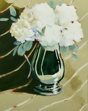 White Hydrangeas in Silver_1