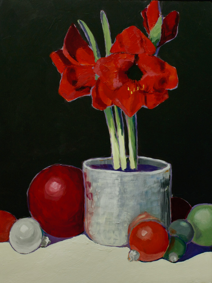 Red Amaryllis and Holiday Ornaments_1