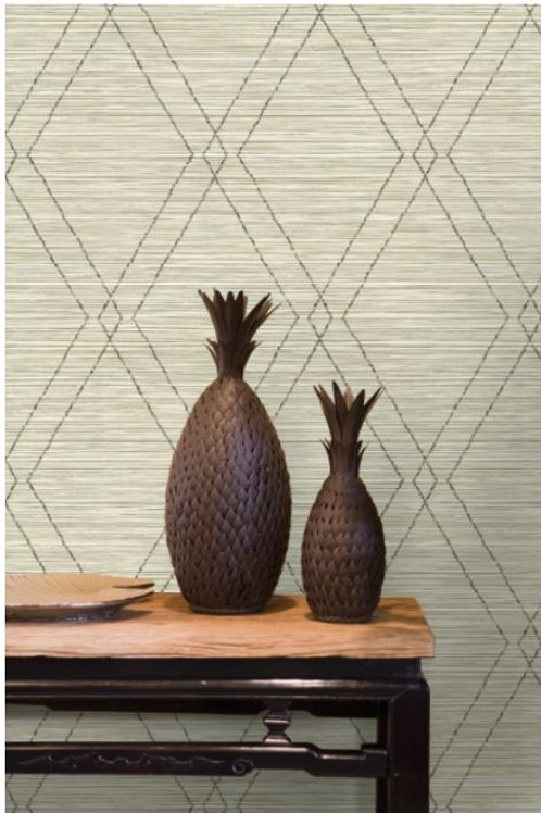 Modern Diamond on Faux Grasscloth
