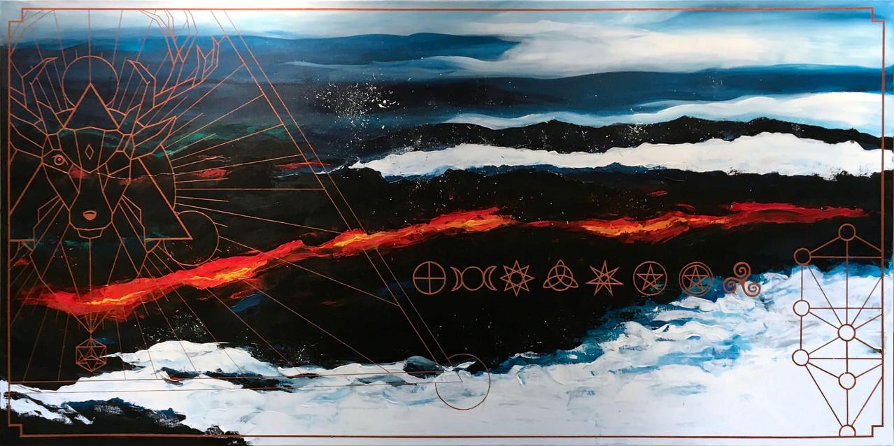 The Hunter, pt. II - akryyli kankaalle, 2021, 200 x 100 cm. 2450 €.