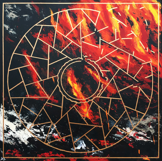 The Inner Fire - akryyli kankaalle, 2020, 100 x 100 cm. 1450 €.