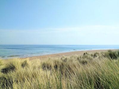 Cresswell beach on Druridge bay Northumberland from the sand dunes