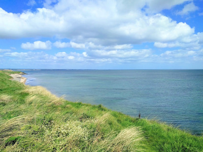 High tide cresswell beach and Druridge bay Northumberland
