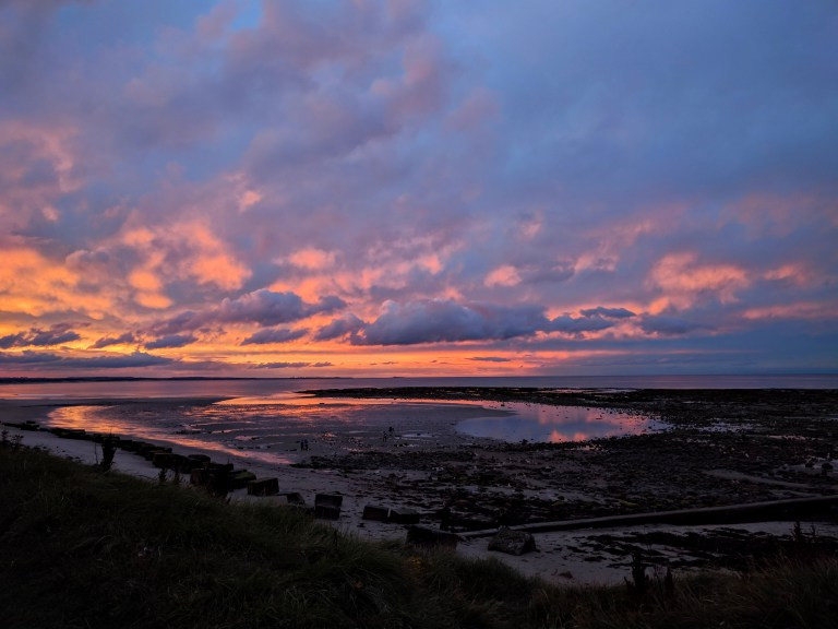 Red sky sunset from Bank top cottage, Druridge bay, Northumberland