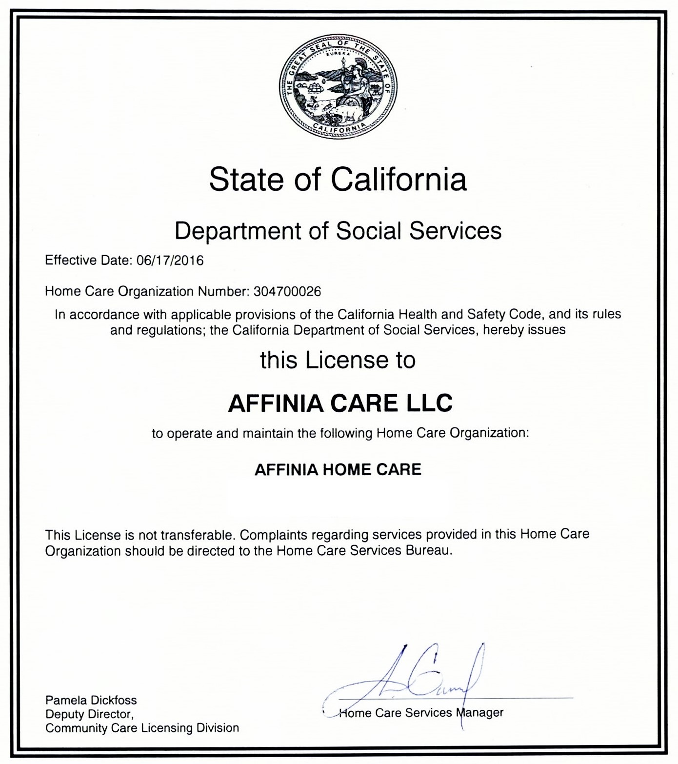 Affinia Home Care Licensed By The State Of California Affinia Home