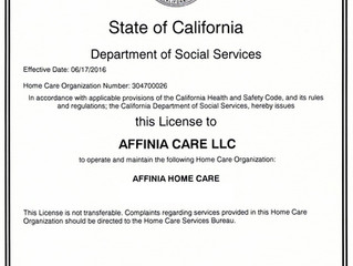 Affinia Home Care licensed by the State of California