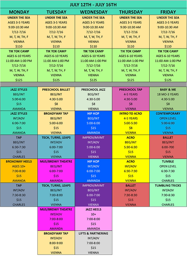 Precision Dance Project Summer Schedule 1