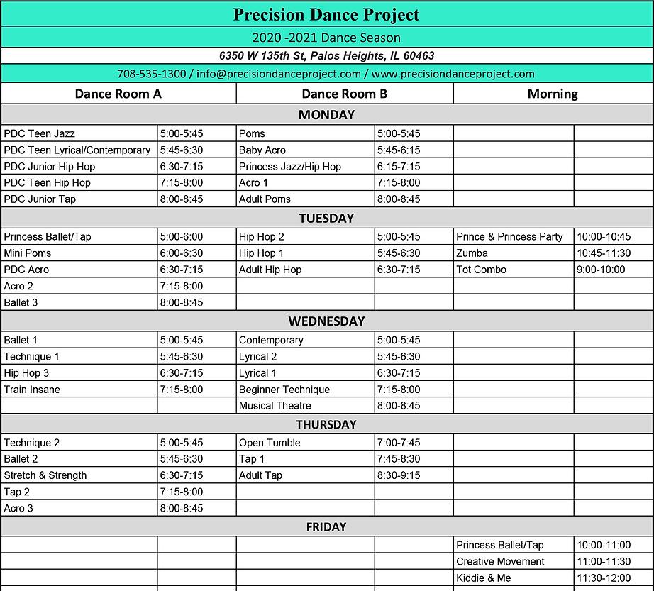 Precision Dance Project 2020-2021 Schedule