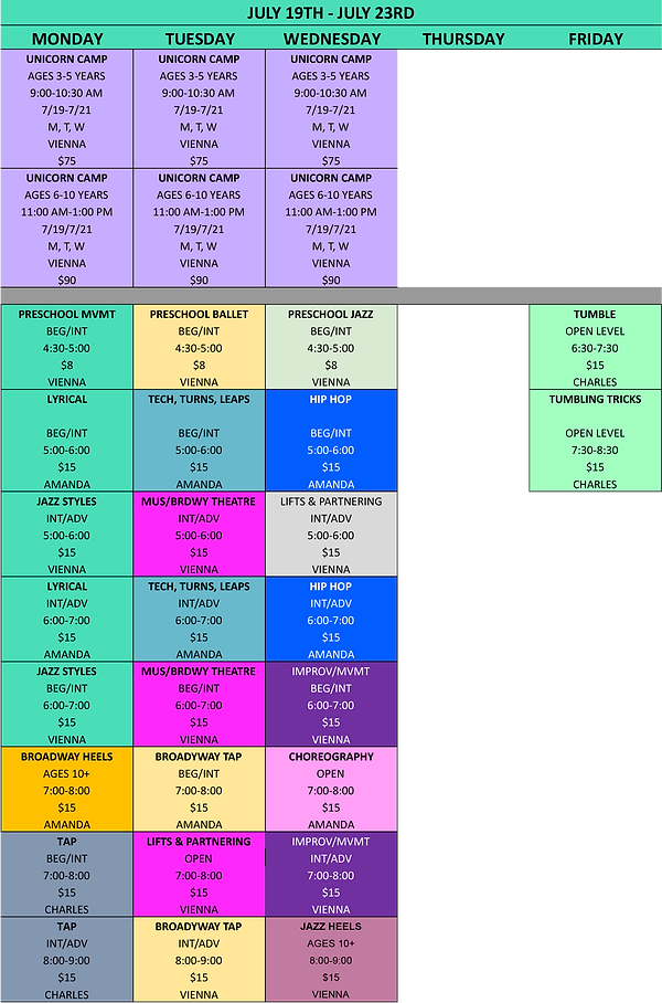 Precision Dance Project Summer Schedule 2