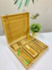 bakbamboo bamboo box with toothbrush, bamboo comb, bamboo razor, bamboo ear buds, bamboo haribrush
