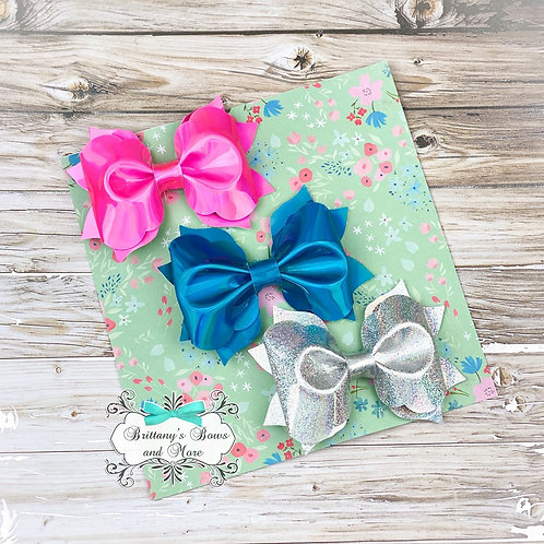 Holographic Faux Leather Bow Trio