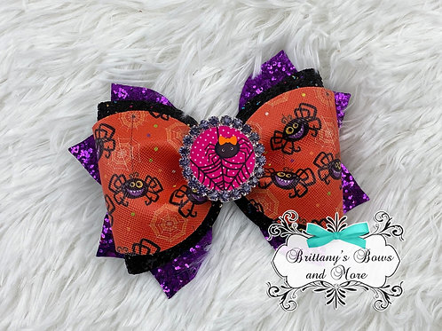 Spider Faux Leather Bow