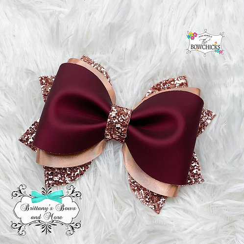 Wine and Rose Faux Leather Bow
