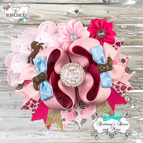 Cowgirl Rodeo Inspired OTT Hair Bow