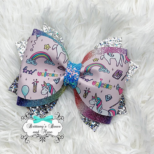 Unicorn Party Faux Leather Bow