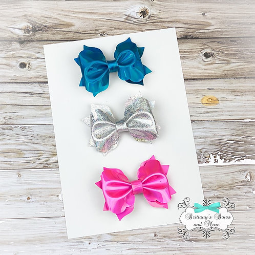 Holographic Faux Leather Bow Trio (Mini Size)