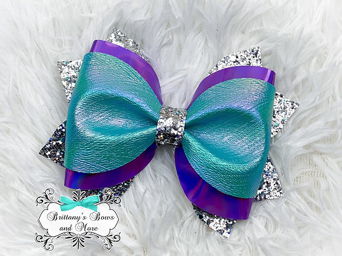 Teal Oil Slick Faux Leather Bow