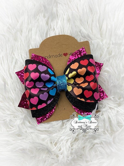 Rainbow Hearts Bow